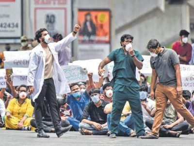 Telangana Junior Doctors Association Continues to strike at Hyderabad's Gandhi Hospital