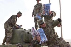 Mike Lindell gifts salvation army pillows to US army pictures